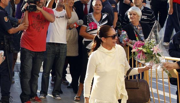 La tonadillera Isabel Pantoja, a su llegada a la Ciudad de la Justicia de Málaga.