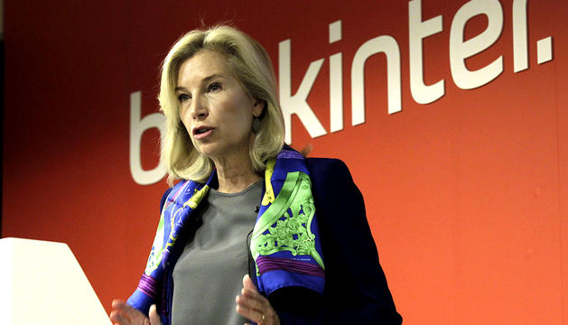 La consejera delegada de Bankinter, María Dolores Dancausa, durante la rueda de prensa