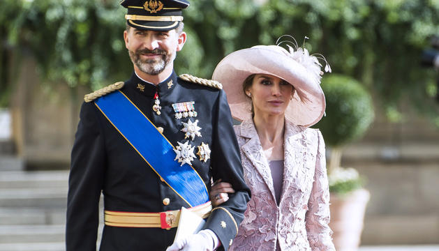 Los príncipes de Asturias, a su llegada a la boda