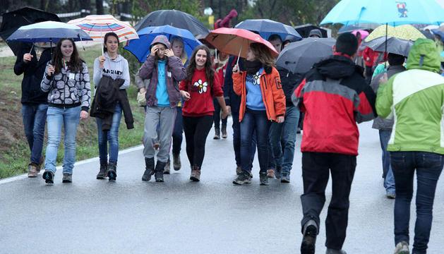 Durante la mañana se vieron muchos paraguas en el recorrido