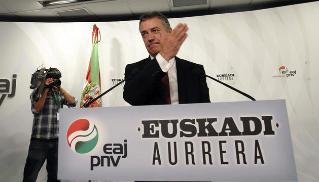 Iñigo Urkullu, durante su comparecencia en Bilbao para valorar el recuento de votos