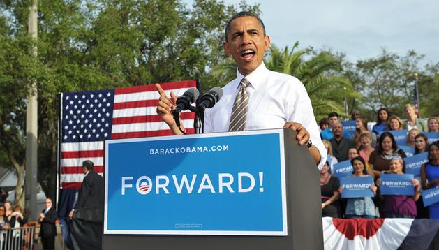 El presidente norteamericano, Barack Obama, durante un acto de campaña electoral en el parque Ybor City Museum State de Tampa, Florida.