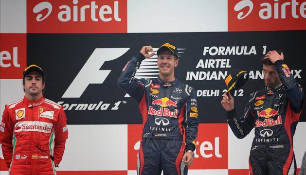 Imagen del podio tras la disputa del Gran Premio de la India