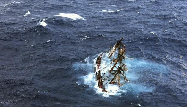 Imagen del naufragio del velero Bounty