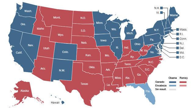 Mapa electoral en EE UU