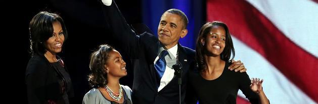 Obama, junto a su familia, tras ser reelegido