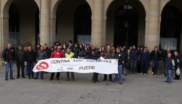 Protesta de funcionarios, este jueves en Tafalla
