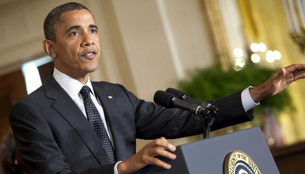 El presidente estadounidense, Barack Obama, ofrece la primera rueda de prensa en la Casa Blanca tras haber ganado la reelección