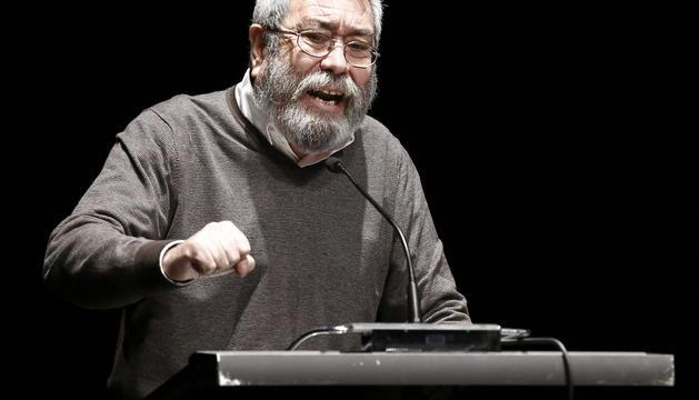 El secretario general de UGT, Cándido Méndez, durante su intervención en una asamblea de delegados de la central sindical celebrada en Burlada.