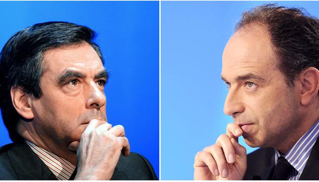 Montaje de François Fillon (izda.) y Jean-François Copé, candidatos a relevar a Sarkozy al frente de la UMP.
