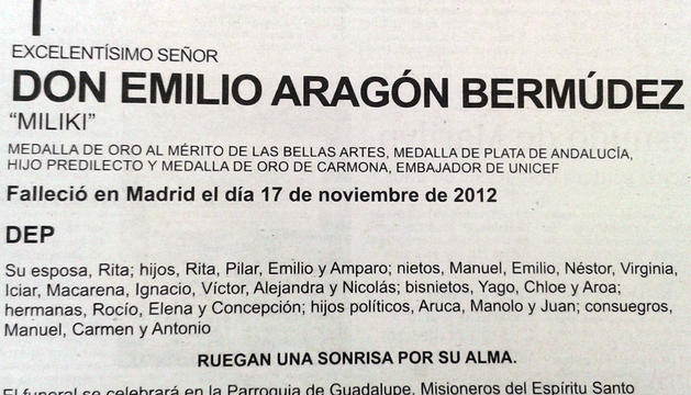 Esquela publicada en el diario El País.