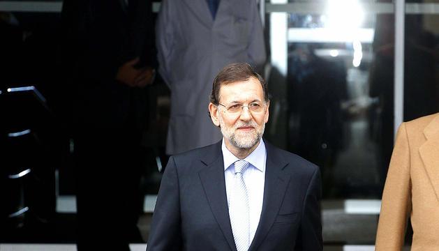 Mariano Rajoy, a su salida del hospital madrileño Quirón San José, tras visitar al Rey Juan Carlos