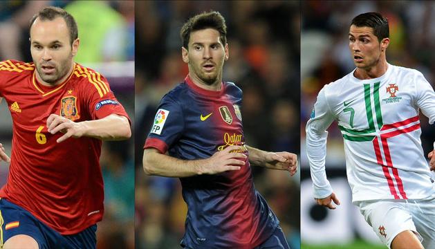 Iniesta, Messi y Cristiano Ronaldo