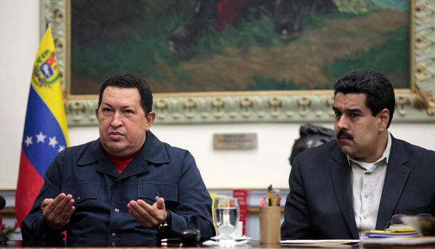 Chávez, junto a Nicolás Maduro. AFP
