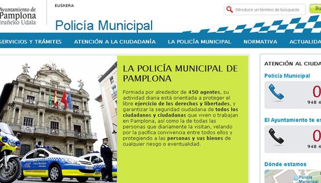 Imagen de la nueva web de la Policía Municipal de Pamplona