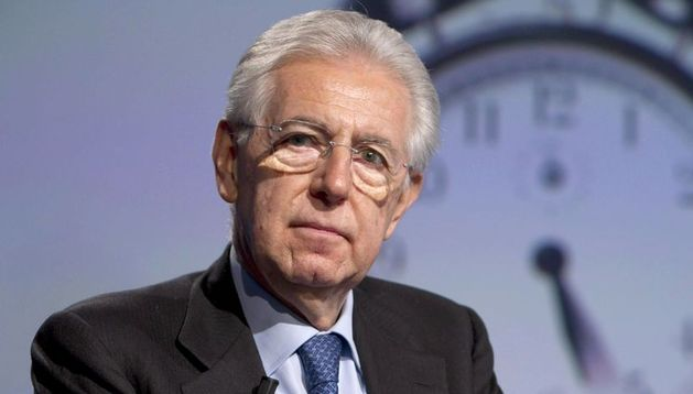 Mario Monti durante un programa de televisión de Rai TV