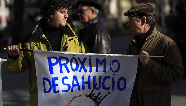 Plataforma de protesta contra los desahucios de Pamplona.