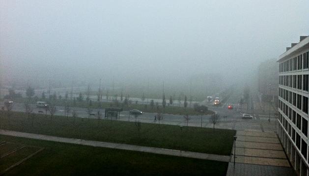 Aspecto del barrio de Buztintxuri a primera hora de esta mañana
