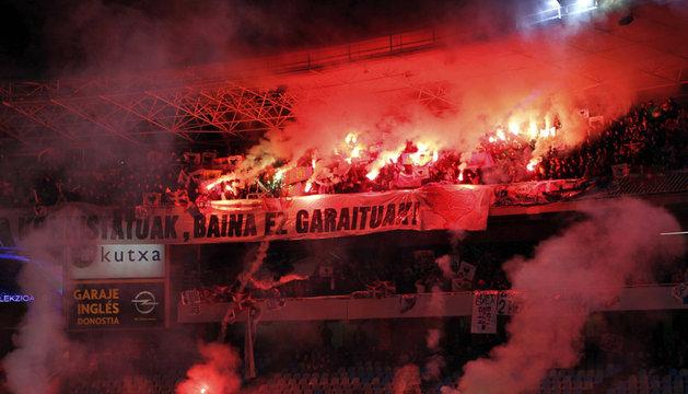Una de las gradas del estadio de Anoeta, este sábado