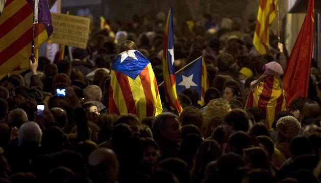 Un momento de la manifestación llevada a cabo este domingo en las calles del centro de Palma de Mallorca.