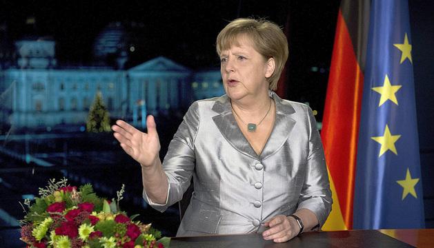 Angela Merkel, durante su mensaje de Año Nuevo que se retransmitirá este lunes.