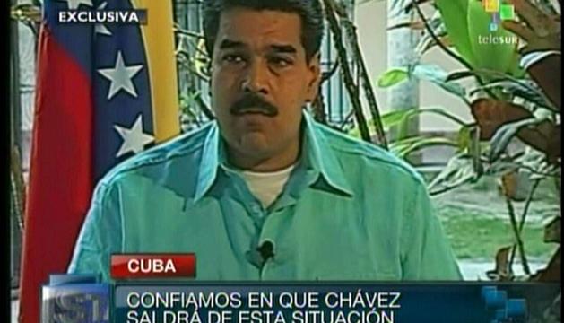El vicepresidente venezolano, Nicolás Maduro, durante la entrevista que otorgó en Telesur desde La Habana (Cuba)
