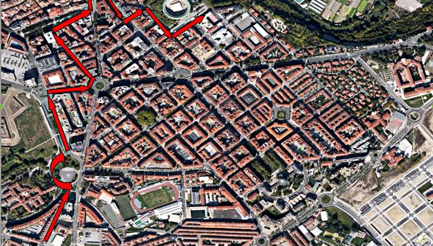 Mapa con el recorrido que seguirá la Cabalgata de los Reyes Magos el 5 de enero de 2013 en Pamplona
