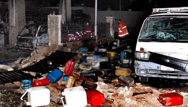 Imagen de los daños causados por la explosión del coche bomba en Damasco