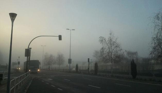 Bancos de niebla en Cordovilla a las 9 horas.