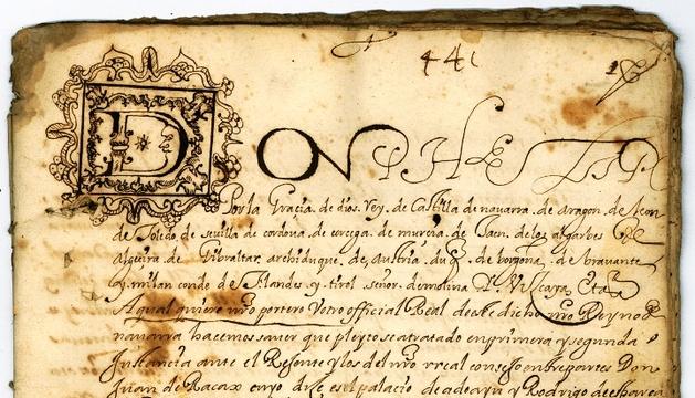 Provisión Real de Felipe III, de 1605, entre los documentos del fondo familiar Ladrón de Cegama