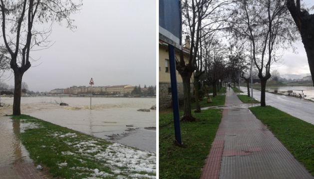 Carretera de la Magdalena, entre Pamplona y Burlada. A la izda. imagen tomada el martes a las 16.00 horas; a la dcha. fotografía del miércoles a las 10.00 horas
