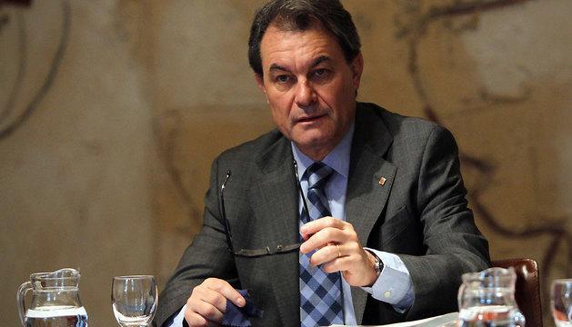El presidente de la Generalitat, Artur Mas, durante la reunión del Gobierno catalán.