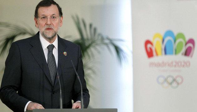 Mariano Rajoy, durante su comparecencia en apoyo a la candidatura olímpica de Madrid 2020