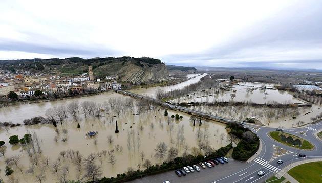 Desbordamientos del río Arga a su paso por Falces