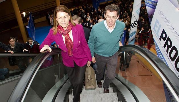 Dolores de Cospedal y ALberto Núñez Feijoó, este sábado en la inauguración del Congreso del PP de Galicia