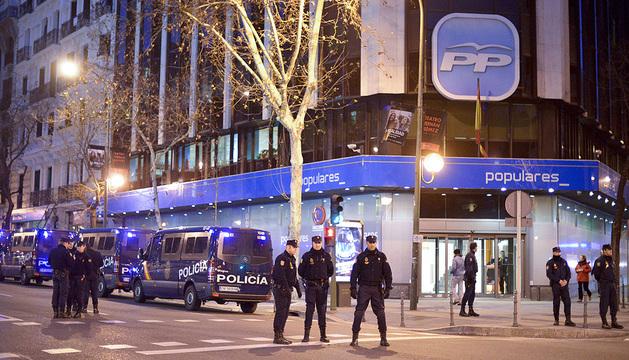 La sede del PP en Madrid, en la calle Génova, ha sido punto de encuentro de protestas contra la corrupción en los pasados días.
