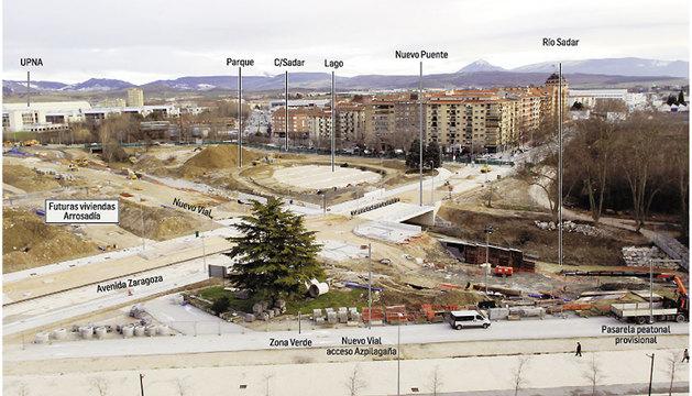 El futuro lago de Pamplonica se asoma junto a la avenida Zaragoza