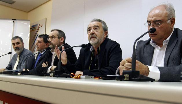 Los sindicatos presentes en Bankia, NGC y Banco de Valencia, en la rueda de prensa de este lunes