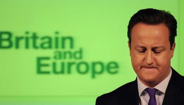 El primer ministro británico, David Cameron, durante su discurso sobre las relaciones entre el Reino Unido y Europa