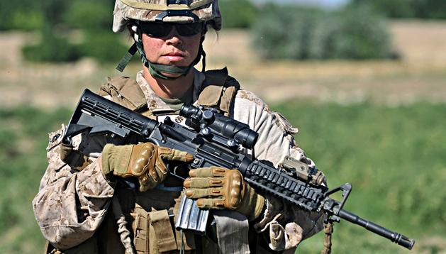 La soldado Michelle, miembro del 1º batallón del 7º Regimiento de los Marines de EE UU