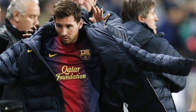 Messi, tras ser sustituido este jueves en el partido de Copa en Málaga
