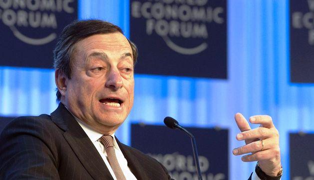 El presidente del Banco Central Europeo, el italiano Mario Draghi, en una de las sesiones de la 43ª reunión anual del Foro Económico Mundial en Davos (Suiza)