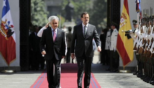 El mandatario de Chile, Sebastián Piñera (i), y el presidente del Gobierno español, Mariano Rajoy.