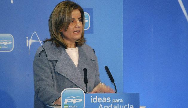 Fátima Báñez, durante su intervención en la clausura de la Escuela de Invierno del PP andaluz.