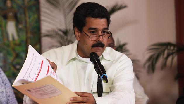 El vicepresidente venezolano, Nicolás Maduro, durante una rueda de prensa