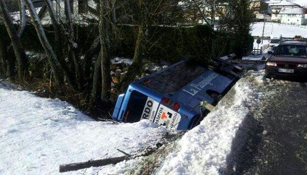 Imagen del microbús volcado al río en Larraintzar