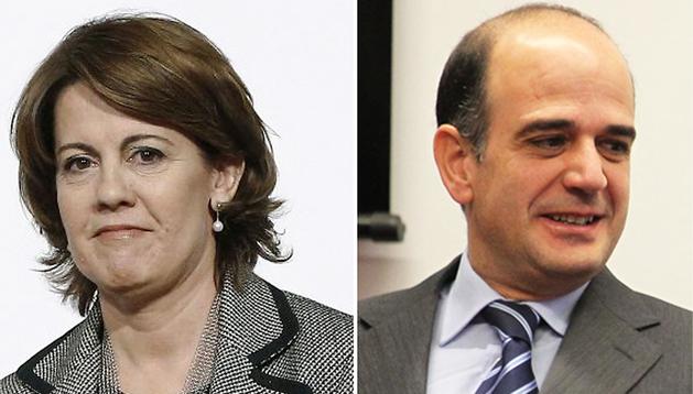 La presidenta del Gobierno de Navarra, Yolanda Barcina (izda.) y el presidente del Parlamento foral, Alberto Catalán (dcha.)