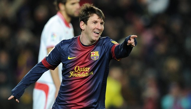 Lionel Messi, celebrando el segundo gol del Barcelona