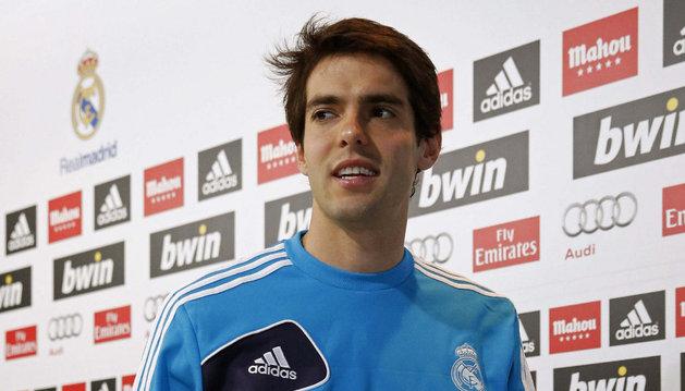 Kaká, en la sala de prensa del Real Madrid