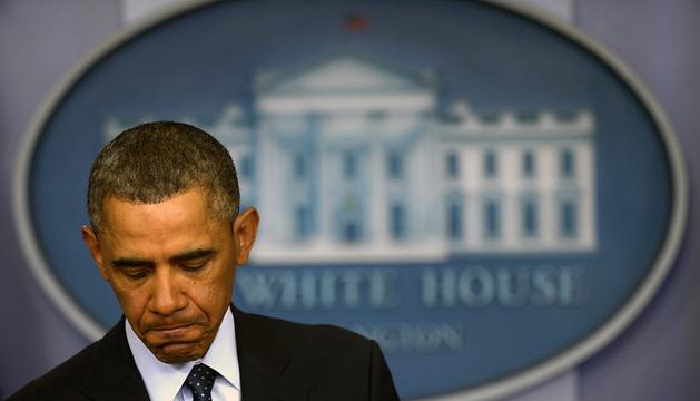 Barack Obama, durante una rueda de prensa celebrada en la Casa Blanca tras la reunión a puerta cerrada con los principales líderes demócratas y republicanos del Congreso